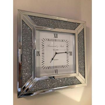 Crushed diamond mirrored wall clock