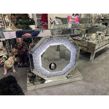 Crystal crush mirror console table with LED light