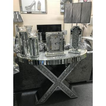 Mirrored crushed crystal half moon X console table