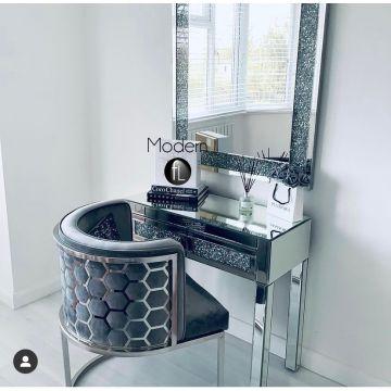 Geometric Grey Velvet dining chair, luxury grey dining chair chrome leg
