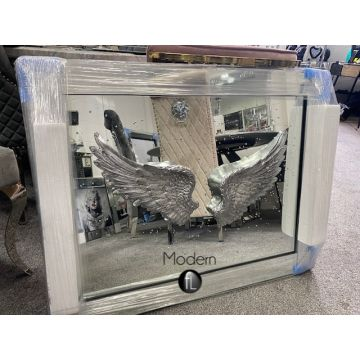 3D Angel wings mirrored picture with glitter art detail, Angel wall mirror 3D