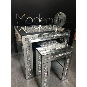 Mirrored crushed diamond nest of 2 tables