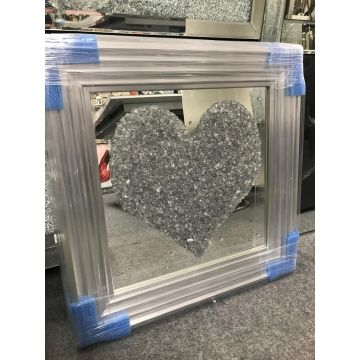 Silver 3d love heart in silver frame