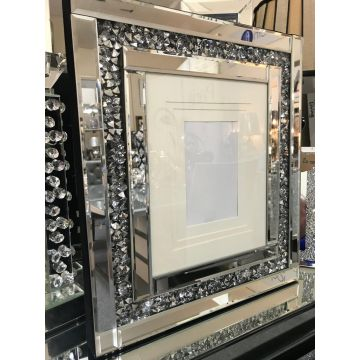 Crushed diamond mirror glass wall photo frame 6x4, 7x5 or 8x6