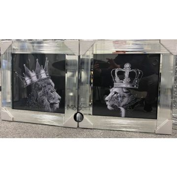 Silver King Lion head and Queen Lioness mirror pictures, 55x55 animal king Lion