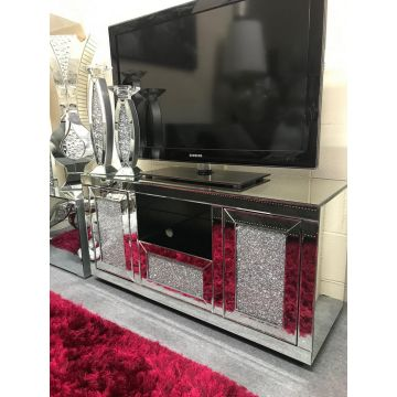 Deluxe Crushed Crystal TV Stand with Storage and Open Tray