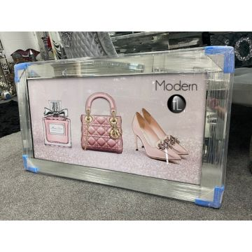 EXTRA Large Pink Designer Bag, Shoe and Perfume 3D Picture with mirrored frame