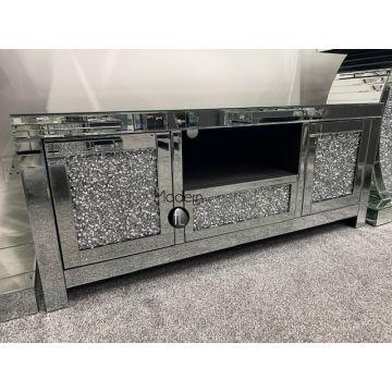 Luxury Mirrored Crushed Diamond TV Stand, Sparkle Glitz TV Unit, 60' TV