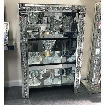 Luxury Crushed Crystal Mirror Book Shelf / Display Cabinet