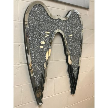 Mirror and Crushed Crystal Angel Wings Wall Art