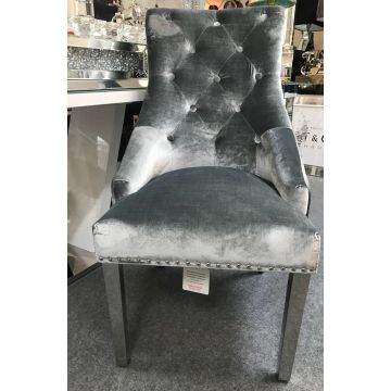 2 x Silver / grey Crushed velvet dining chair with chrome leg and knocker detail