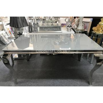 Louis dining table with grey glass top 1.5m long