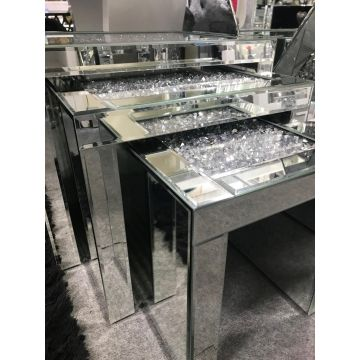 CRUSHED DIAMOND MIRRORED NEST OF 3 TABLES