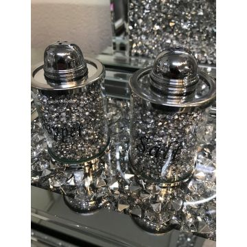 Crushed Crystal Salt and Pepper Shakers