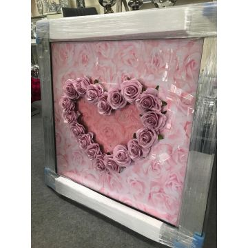 3D Pink Heart Picture with 3D Rose Detail and Glitter Finishes