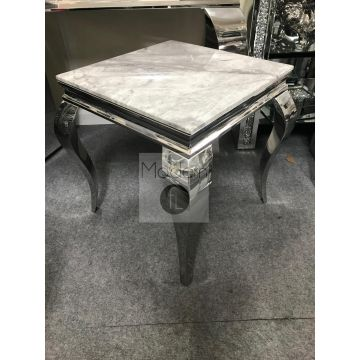 Louis Side Table with Grey Solid Marble Top