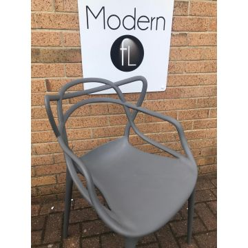 Stack-able Modern grey plastic outdoor or indoor dining seat
