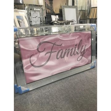 Pink family sparkle glitz mirrored picture