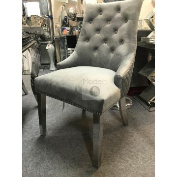 2 x Luxury Grey Velvet Dining Chairs with Lion Head Door Knocker and Legs