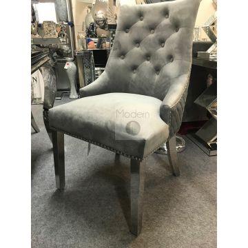 2 x Luxury Grey Velvet Dining Chairs with Lion Head Door Knocker and Legs