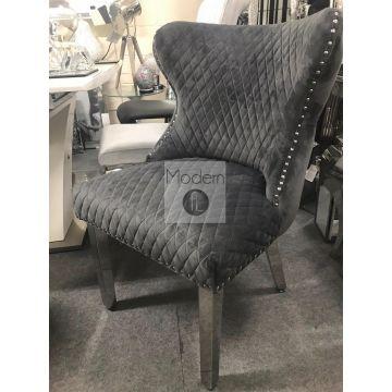 2 Light Grey Velvet Dining Chairs with Lion Head Door Knocker