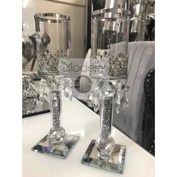 Pair Of Crushed Diamond Candle Holders