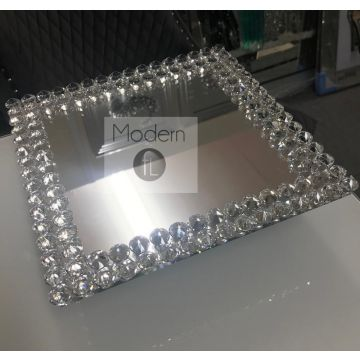 Crystal Effect Glass Swivel Tray, Tray Centre Piece