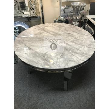 Louis round dining table with grey solid marble top, Round marble top table