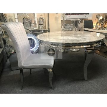 Louis round dining table and 4x Louis chairs, Round marble top table and chairs