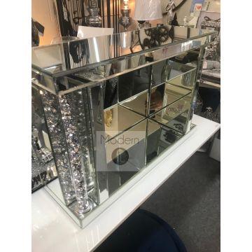 Large Crushed Diamond Mirror Wall Shelf, Sparkly Glitz Diamond Shelf