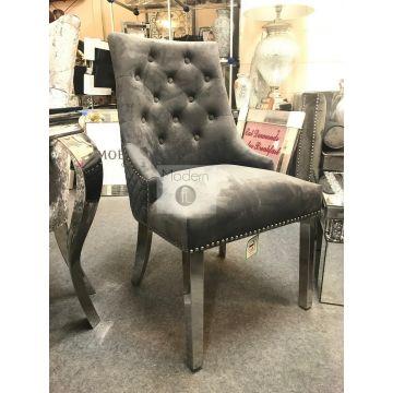 2x Medium To Dark Grey Velvet Dining Chairs, Lion Head Door Knocker
