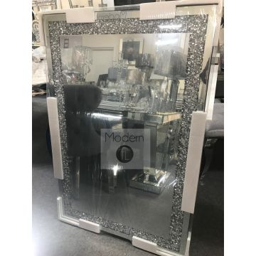 Luxury 120x80 crushed diamond wall mirror with straight edge finish