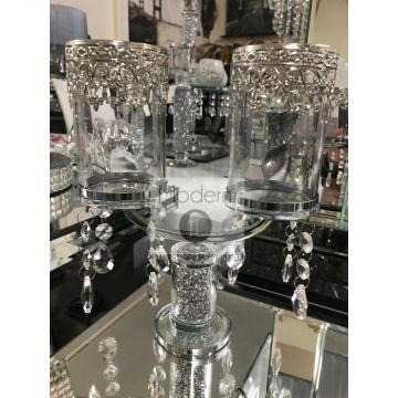 Crushed diamond twin candle holder with crystal droplets, glitz candle holder