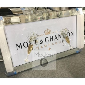 White Moet & Chandon Champagne Picture with 3D Flutes and Sparkle Detail
