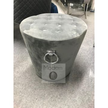 Grey velvet stool pouffe with tufted top and chrome ring pull knocker feature