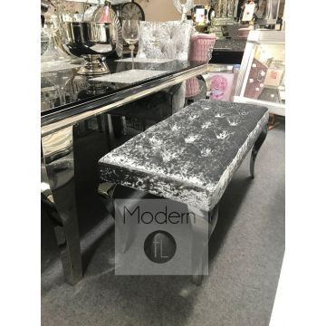 Stunning Silver crushed velvet Louis dining bench 110 cm wide, Louis dining bench