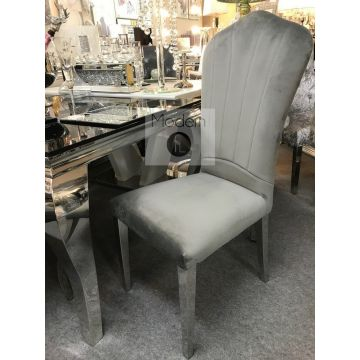 Stunning luxury grey velvet Louis dining bench with 2x Grey velvet chairs