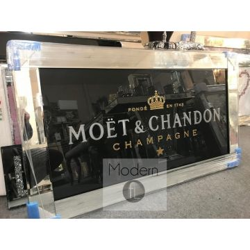 Black Or White 3D Moet and Chandon mirrored Picture, Picture with 3D Sparkle Detail
