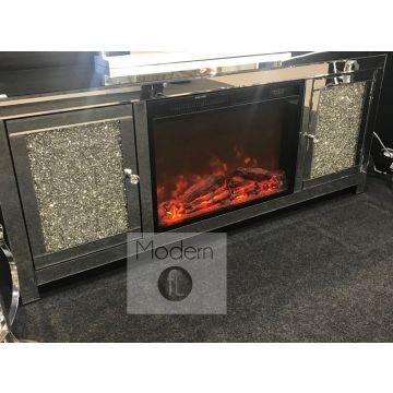 Mirrored and crushed diamond TV unit with built in fireplace, stunning tv unit
