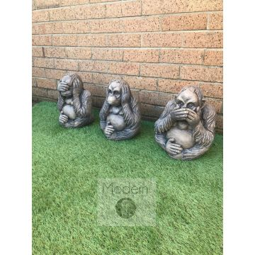 See no evil, hear no evil, speak no evil monkey garden ornaments