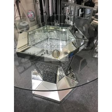 Luxury mirrored crushed crystal round glass dining table, stunning round dining
