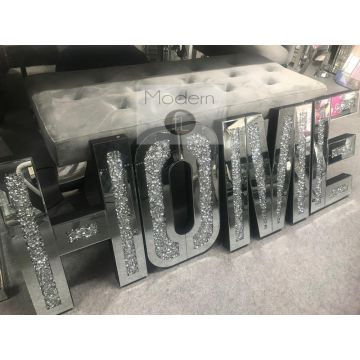 HOME Letter Mirror and Crushed Crystal Wall Ornament, decorative HOME piece