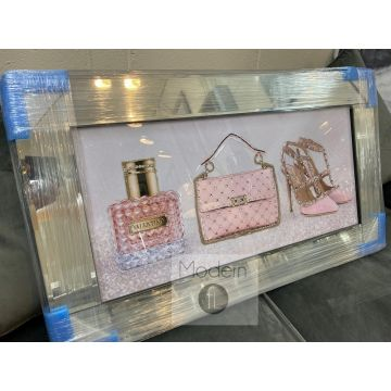Pink Designer Bag, Shoe and Perfume 3D Picture with mirrored frame