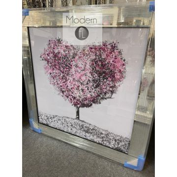 Pink love heart tree blossom 3D picture in mirrored frame