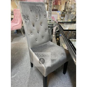 Luxury grey velvet scroll back dining chair with chrome door knocker ring
