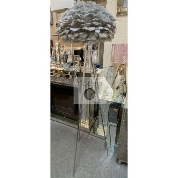Contemporary chrome tripod floor lamp with grey feather shade