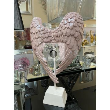 Stunning blush pink angel wings on white stand, pink Angel wing figurine
