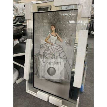 Lady In White Gown Picture on Mirror Frame with Glitter Detail, Lady In White