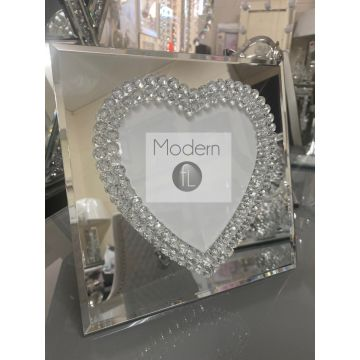 Mirror Love heart 6x6 photo frame with diamond finish, glitz photo frame