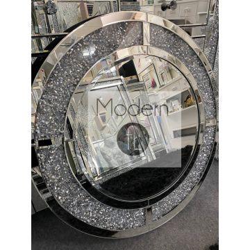 Stunning Luxury crushed diamond round wall mirror 80cm, glitz sparkle mirror